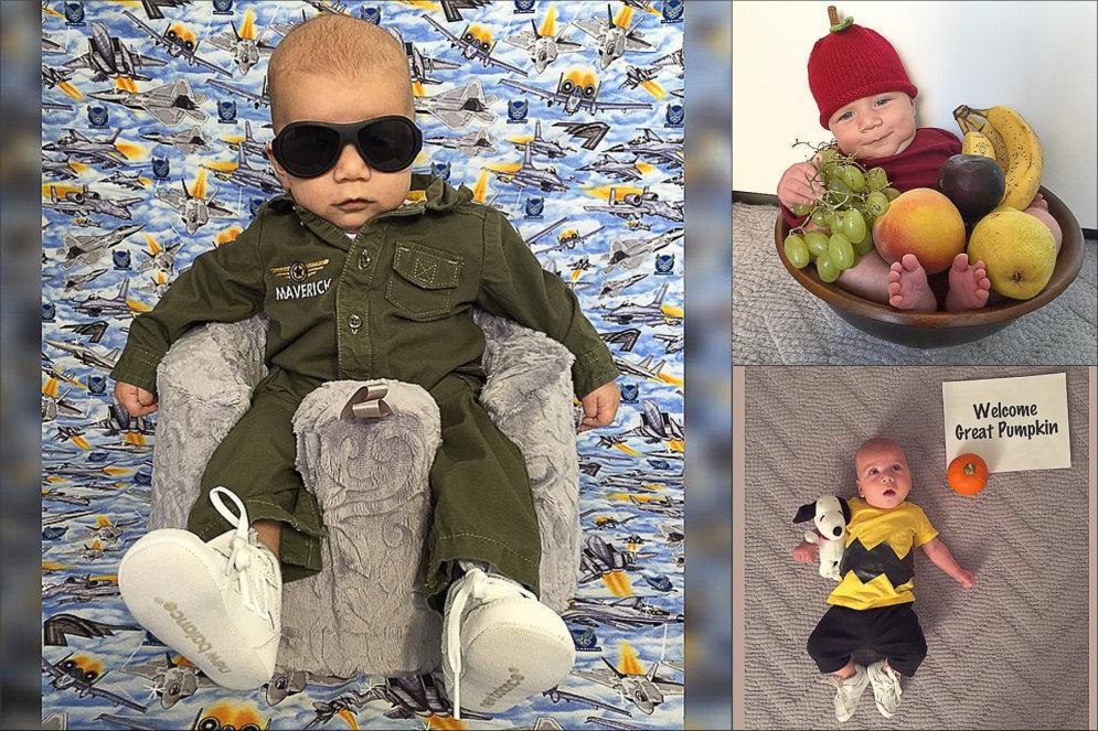 """Родители полгода ежедневно одевают младенца в разные """"хэллоуинские"""" костюмы"""