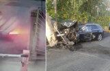 Video: Preiļos divi vīrieši ar 'Audi' lielā ātrumā ietriecas stabā; viens bojāgājušais