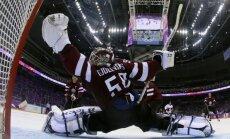 Foto: Gudļevskis un pārējie hokeja 'lāčplēši' pret Ziemeļamerikas varenajiem