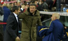 Mames stadium, Bilbao, Athletic Bilbao coach Ernesto Valverde and Barcelona coach Luis Enrique