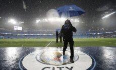 Spēcīga lietus dēļ atcelta Mančestras 'City' un Menhengladbahas 'Borussia' UEFA Čempionu līgas spēle