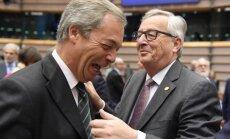 'Ko tu vēl te dari,' britu populistu līderim Briselē vaicā Junkers