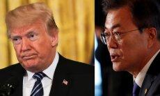 Tramps un Muns pārsprieduši Ziemeļkorejas draudus atcelt samitu