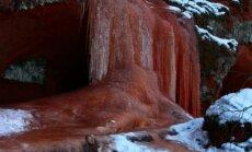 """Фантастический вид: """"Ледопад"""" на реке Браслас в лучах заката"""