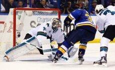 Sanhosē 'Sharks' ar 'sauso' uzvaru izlīdzina rezultātu NHL Rietumu konferences finālā