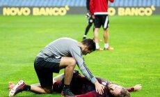 Foto: Latvijas futbola izlases pirmspēles treniņš Portugālē