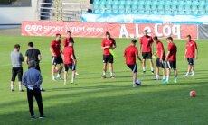 Foto: Latvijas nacionālā futbola izlase aizvada treniņu pirms spēles ar Igauniju