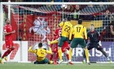 Fedor Cernych scores a goal, Lithuania - Malta