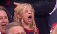 Video: Sešgadīgas hokeja fanes patiesā sajūsma par 'Capitals' uzvaru Stenlija kausa spēlē