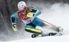Zviedrs Mīrers negaidīti triumfē slaloma sacensībās; Zvejnieks izstājas otrajā olimpiādē pēc kārtas