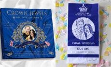 Suvenīru ražotāju pērles: karalisko kāzu prezervatīvi un maisiņi vemšanai