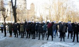 ВИДЕО: Акция протеста студентов и преподавателей RPIVA у Кабинета министров