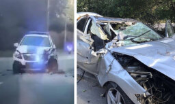 Policijas ekipāžas video ar Rīgā bēgošā 'Mercedes' sadursmi ar pretimbraucošo policijas auto