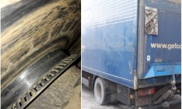 Foto: CSDD reidā Garkalnē apturēts kravas auto bez bremžu klučiem
