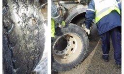 Foto: CSDD reidā apturēts kravas auto ar pilnībā nodilušām riepām