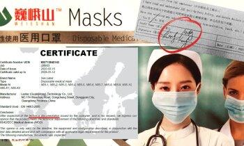 Miljons Singapūras firmai (IV): Ražotājs Ķīnā apšaubāms, sertifikāts neapliecina masku kvalitāti