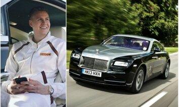 Porziņģis pozē tēva jaunajā 'Rolls-Royce'; tiesības vēl nav atguvis