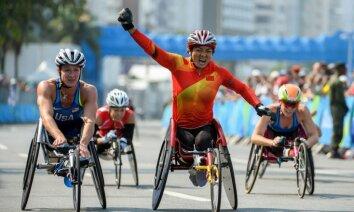 Lihong Zou of China wins T54 Marathonб Rio Paralympics