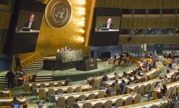 Parādu dēļ balsstiesības ANO zaudējušas 14 valstis