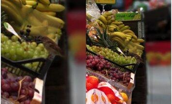 Lasītāja foto: Lielveikalā Mārupē zvirbulis našķējas ar vīnogām