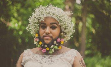 Neiespējams skaistums: sieviete ar bārdu pozē kāzu kleitā