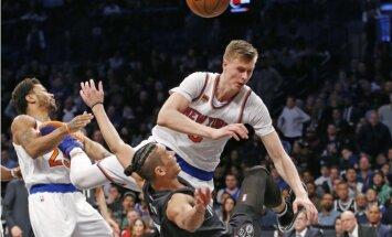 Porziņģim 'double-double' un pieci bloķēti metieni 'Knicks' zaudējumā NBA pastarītei 'Nets'