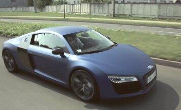 Video: 'Audi R8' testa brauciens Latvijā