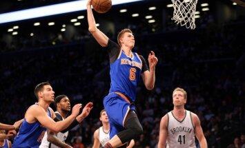 Porziņģis gūst šī gada pirmo 'double-double' un palīdz 'Knicks' uzvarēt