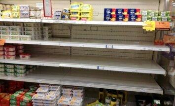 ФОТО: В Эстонии дефицит сливочного масла, в некоторых магазинах прилавки опустели
