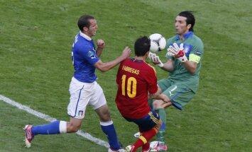 Spānijas futbolisti ar neizšķirtu pret Itāliju sāk čempionu titula aizstāvēšanu