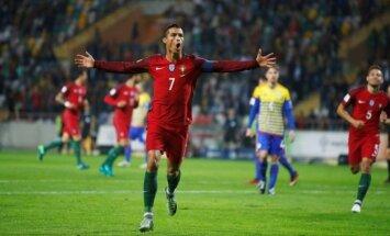 Ronaldu gūst četrus vārtus Portugāles graujošā uzvarā pār Andoru; Šveice viesos izrauj uzvaru pret Ungāriju