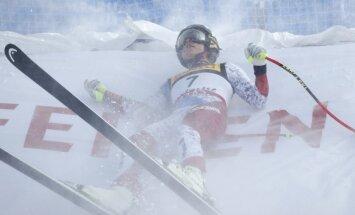 Video: Kalnu slēpotāja Guta kritienā treniņā pārrauj krusteniskās saites