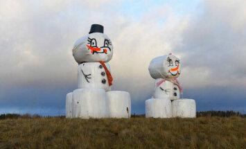 Gaidot sniegu: Pie Pleskavas šosejas 'uzvelti' asprātīgi sniegavīri