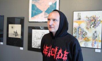 Foto: Mākslinieki Dailes teātrī nosvin izstādes 'Siltais Zīmuls' atklāšanu