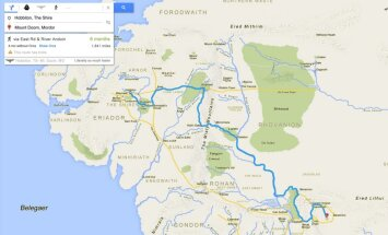 Kā izskatītos Frodo ceļš uz Mordoru 'Google Maps'