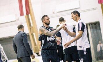 'VEF Rīga' LBL spēlē uzvar 'Barons kvartāls' basketbolistus