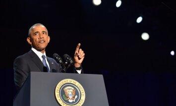 Obama atvadu runā aicina amerikāņus aizstāvēt demokrātiju