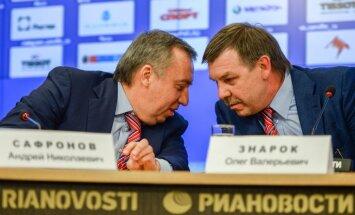 Manager Russian team Andrei Safronov, head coach Oleg Znarok