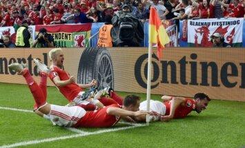 Eiropas čempionāta debitantu duelī Velsas futbolisti pārspēj Slovākiju