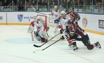 Rīgas 'Dinamo' tikai pagarinājumā salauž KHL pastarīšu pretestību (+FOTO)