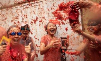 Video: Spānijā cilvēku tūkstoši ālējas tradicionālajās tomātu kaujās