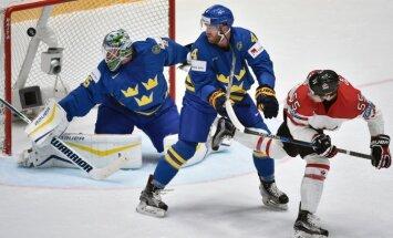 Kanādas izlase 'sausā' sagrauj Zviedriju un sasniedz pusfinālu