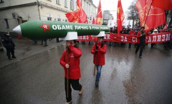 Russian Communist party take part in a procession in central Moscow