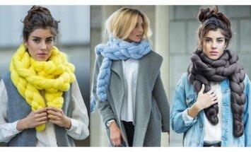 Легко сделать самой: стильный и теплый шарф крупной вязки