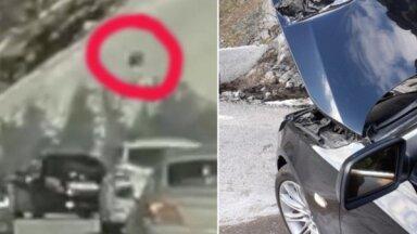Video: Latvietim Norvēģijā uz BMW uzkritis klints akmens
