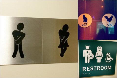 Мальчики направо, девочки налево. 14 самых креативных туалетных знаков в мире