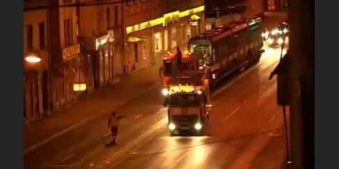 Rīga, tramvajs, nakts