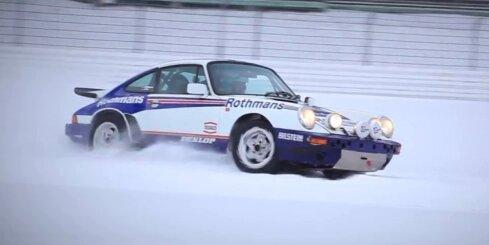 Ar 'Porsche 911' pa sniegoto Nirburgringas trasi