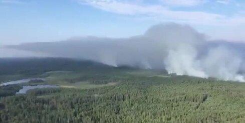 Valdgales pagastā turpinās milzīgā meža ugunsgrēka dzēšana
