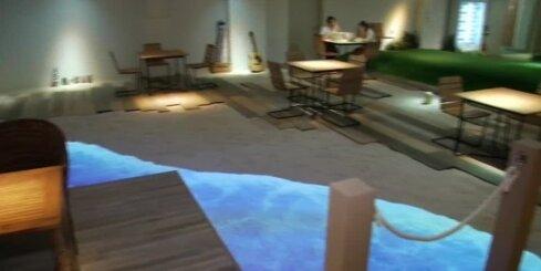 Japānā kāda uzņēmuma birojā izveidota pludmale